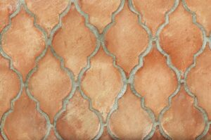 Losa de barro artesanal tonalidad clara formato hoja de higuera 02