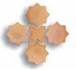 Losas de barro artesanal tonalidad clara combinación estrella y cruz 01