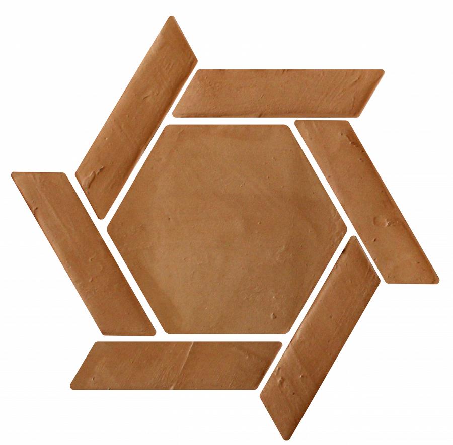 Suelo de barro artesanal tonalidad clara combinación espiral 01
