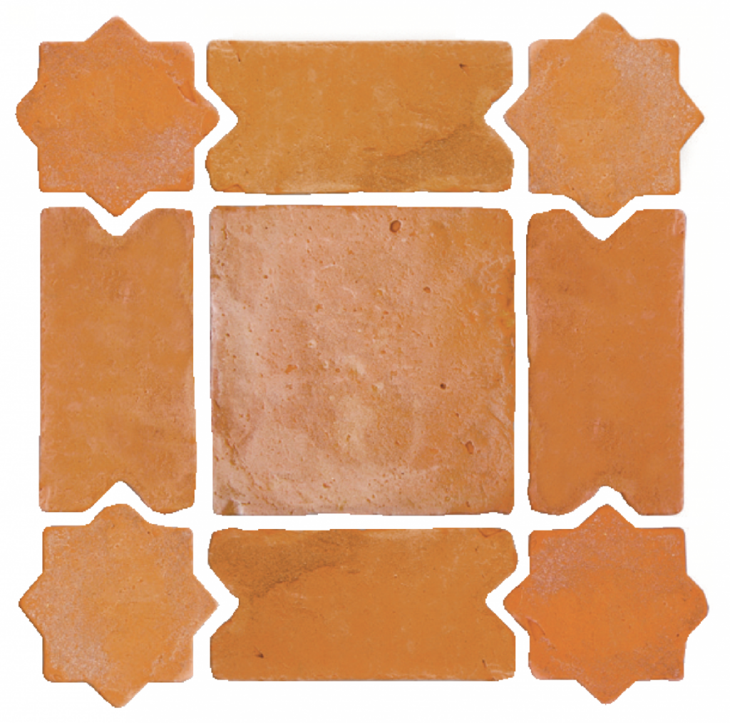 Baldosa-de-barro-combinación-mudéjar-rustico-antiguo
